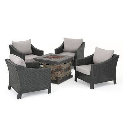 Shadai Rattan Outdoor Conversation Set Cushions Fire Pit 974 Product Image