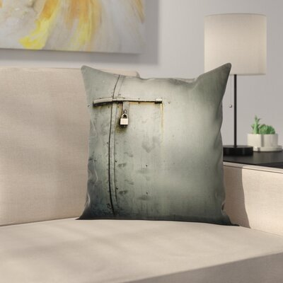 Metal Warehouse Door Square Pillow Cover Size: 16 x 16