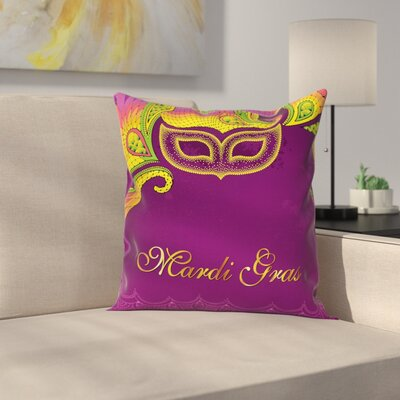 Mardi Gras Lace Style Square Cushion Pillow Cover Size: 18 x 18