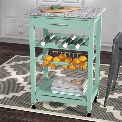 Macy Kitchen Cart with Granite Top Base Finish: Green