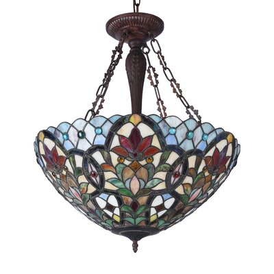 Quesada 3-Light Floral Bowl Pendant