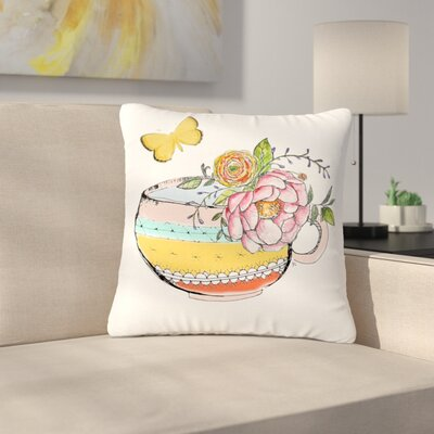 Jennifer Rizzo Tea Cup Vase Vintage Outdoor Throw Pillow Size: 16 H x 16 W x 5 D