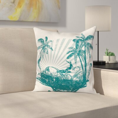 Grunge Tropical Square Cushion Pillow Cover Size: 18 x 18