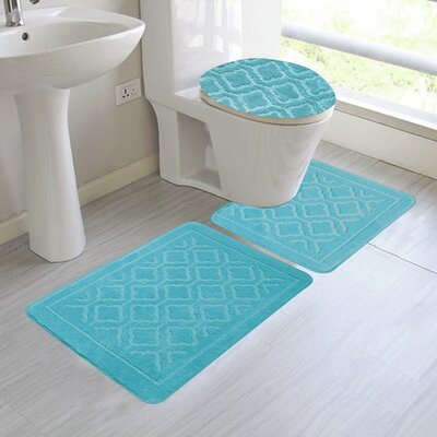 Chagnon 3 Piece Bathroom Rug Set Color: Turqouise