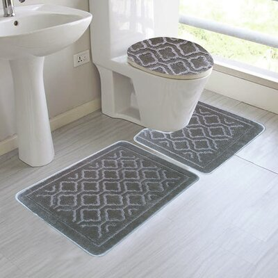 Chagnon 3 Piece Bathroom Rug Set Color: Silver
