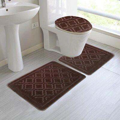Chagnon 3 Piece Bathroom Rug Set Color: Coffee