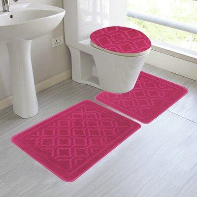 Chagnon 3 Piece Bathroom Rug Set Color: Bright Rose