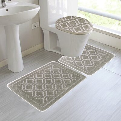 Chagnon 3 Piece Bathroom Rug Set Color: Beige