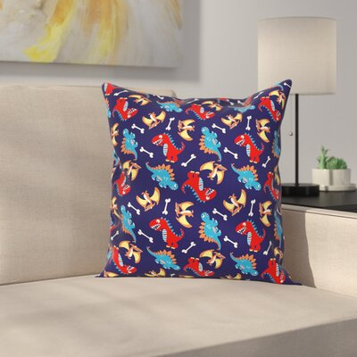 Dinosaur Funny Kids Cartoon Square Cushion Pillow Cover Size: 18 x 18