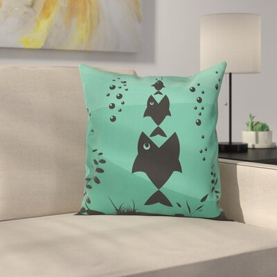 Underwater Life Themed Square Pillow Cover Size: 18 x 18