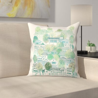 Cambodian Village Throw Pillow Size: 18 x 18