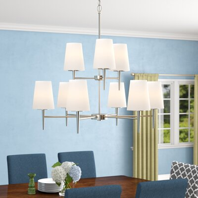 Moorcroft 9-Light Shaded Chandelier Finish: Brushed Nickel