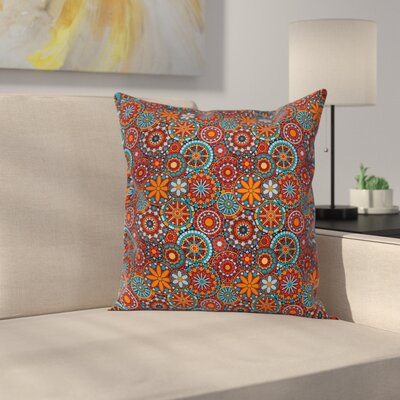 Mandala Ethnic Indian Floral Square Pillow Cover Size: 18 x 18