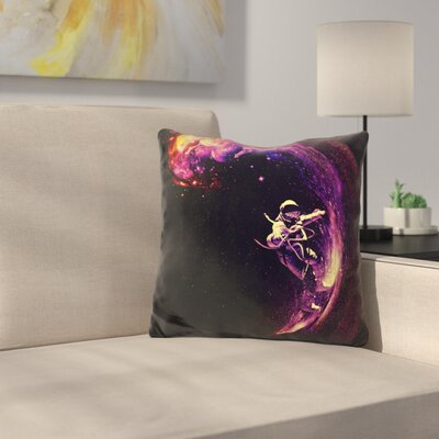 Space Throw Pillow Color: Black/Yellow