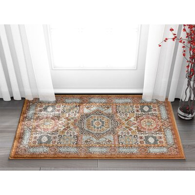 Osorio Vintage Over Dyed Medallion Center Brown Area Rug Rug Size: Rectangle 23 x 311