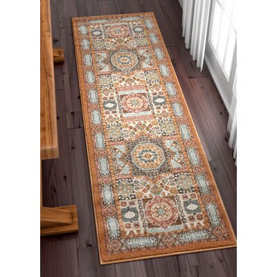 Osorio Vintage Over Dyed Medallion Center Brown Area Rug Rug Size: Runner 23 x 73