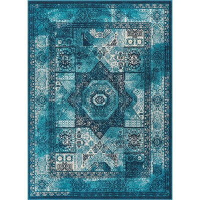 Osorio Vintage Over Dyed Medallion Center Blue Area Rug Rug Size: Rectangle 53 x 73