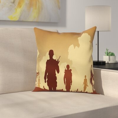 Silhouettes of Soldiers Square Pillow Cover Size: 16 x 16