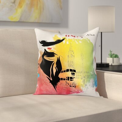 Vintage London Fashion Lady Square Pillow Cover Size: 18 x 18