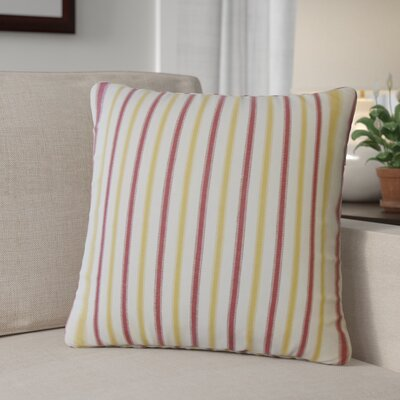 Camela Striped Down Filled 100% Cotton Throw Pillow Size: 18 x 18, Color: Gold/Red