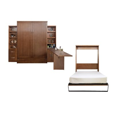 Quinn Queen Murphy Bed with Drawer Bookcase and Door Bookcase and Desk Color: Nutmeg