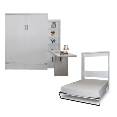 Quinn Queen Murphy Bed with Door Bookcase and Desk Color: Pearl White
