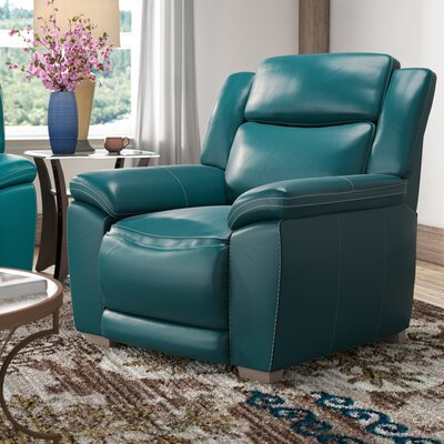 Evansburg Leather Manual Recliner Upholstery: Dark Turquoise