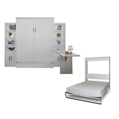 Quinn Queen Murphy Bed with 2 Door Bookcases and Desk Color: Pearl White
