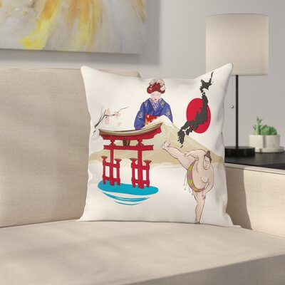 Japanese Woman and Temple Square Pillow Cover Size: 20 x 20