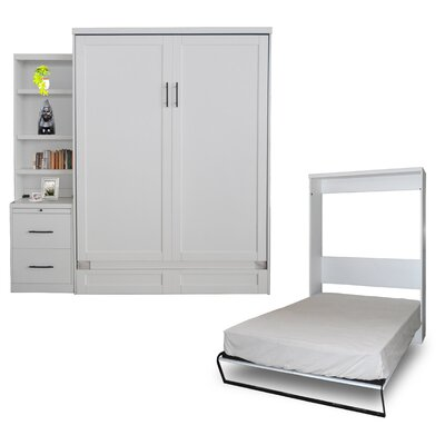 Quinn Queen Murphy Bed with Drawer Bookcase Color: Pearl White