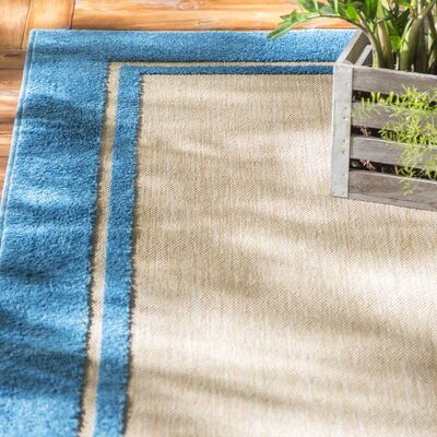 Binghamton Sand/Blue Outdoor Area Rug Rug Size: Rectangle 53 x 76