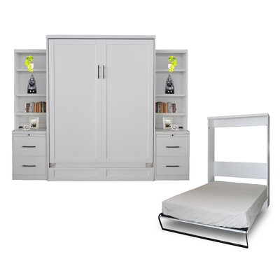 Quinn Queen Murphy Bed with 2 Drawer Bookcase Color: Pearl White