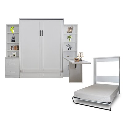Quinn Queen Murphy Bed with Drawer Bookcase and Door Bookcase and Desk Color: Pearl White
