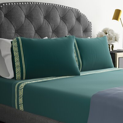 Jarrow Embroidered Sheet Set Size: King, Color: Dark Teal