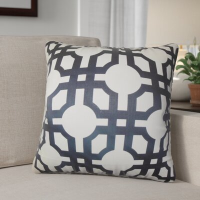 Luder Geometric Cotton Throw Pillow Color: Black