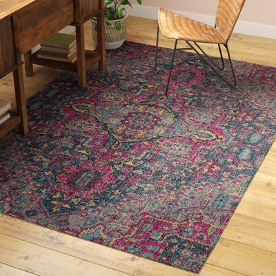 Thadine Denim Oriental Area Rug Rug Size: Rectangle 53 x 76