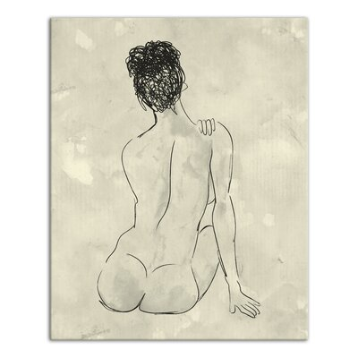 'Back of a Nude Woman Sketch' Drawing Print on Wrapped Canvas 6F3931E005E44992AEF97675C561EB18