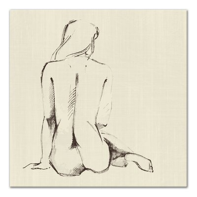 'Seated Nude Woman Sketch' Drawing Print on Wrapped Canvas 2B27FDBD6E9946D98F932D788FAC682C