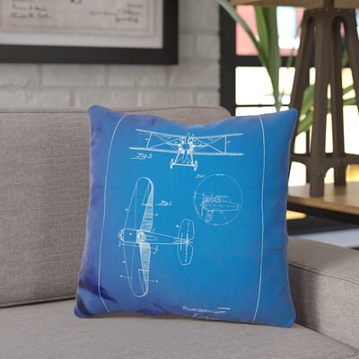 Chatman W D Clark Plane Throw Pillow Color: Blue