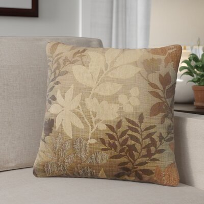 Shan Chenille Jacquard Leaf Throw Pillow Color: Taupe