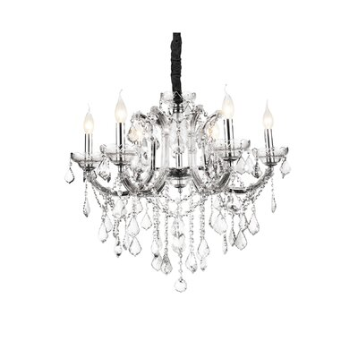 Riley 6-Light Candle-Style Chandelier Crystal Color: Clear