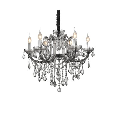 Riley 6-Light Candle-Style Chandelier Crystal Color: Smoke