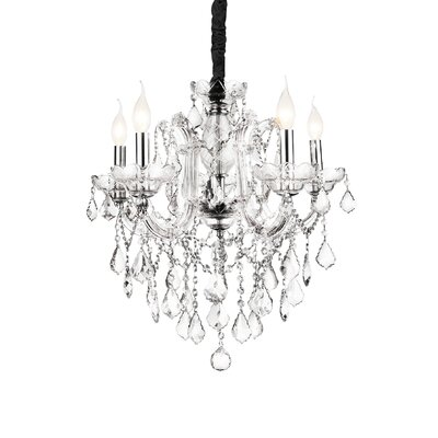 Riley 5-Light Candle-Style Chandelier Crystal Color: Clear