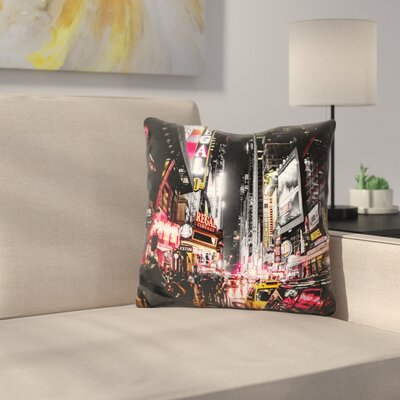 New York City Night Throw Pillow Color: White/Red