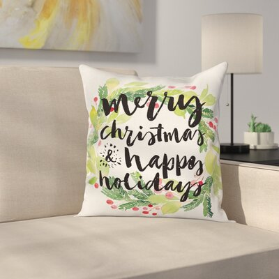 Christmas Wreath Berries Square Pillow Cover Size: 16 x 16