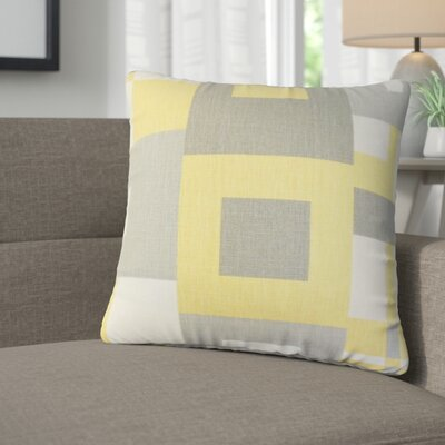Roselyn Geometric Linen Throw Pillow Color: Gray