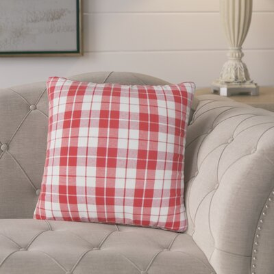 Schwaller Plaid Cotton Throw Pillow Color: Red