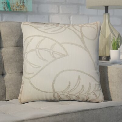 Xenophon Floral Cotton Throw Pillow Color: Linen