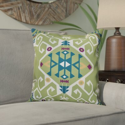 Meetinghouse Jodhpur Medallion Geometric Outdoor Throw Pillow Size: 18 H x 18 W, Color: Green