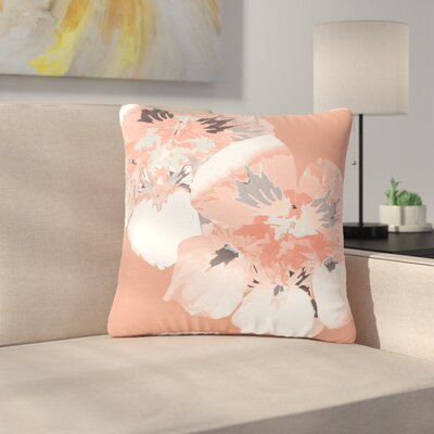 Graphic Flower Nasturtium Throw Pillow Size: 26 H x 26 W x 7 D, Color: Coral